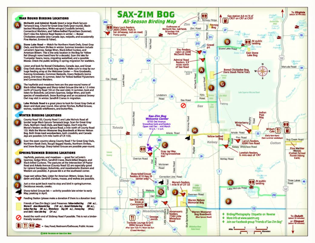 Birding Map 2018-19 Sax-Zim Bog : Friends of Sax-Zim Bog